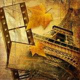 Autumn in Paris. Vintage style background with film strip Royalty Free Stock Photos