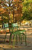 Autumn in Paris. Typical parisian park chairs in the Luxembourg Garden. Paris, France stock image
