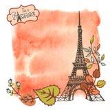 Autumn Paris.Eiffel tower,leaves,watercolor splash Stock Photos