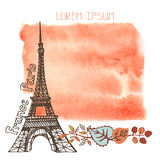 Autumn Paris.Eiffel tower,watercolor splash,leaves Royalty Free Stock Images