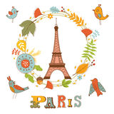 Autumn in Paris. Elegant card with floral wreath Royalty Free Stock Photography