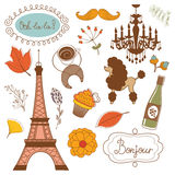 Autumn in Paris. Elegant set with Eiffel tower Royalty Free Stock Image
