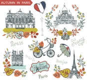 Autumn in Paris.Famous landmarks and floral decorations. Paris Famous landmarks with autumn leaves wreath,compositions.Vintage doodle sketchy.Notre Dame,Eiffel Stock Photography