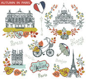 Autumn in Paris.Famous landmarks and floral. Paris Famous landmarks with autumn leaves wreath,compositions.Vintage doodle  sketchy.Notre Dame,Eiffel tower,Sacre Royalty Free Stock Photos