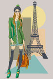 Autumn in Paris. Fashion girl near Eiffel Tower. Hand drawn illustration Background with model Royalty Free Stock Image