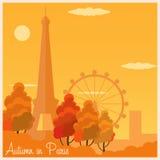 Autumn in Paris. France. Autumn  illustration. Eiffel tower. Royalty Free Stock Photo