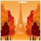 Autumn in Paris. France. Autumn illustration. Eiffel tower. royalty free illustration