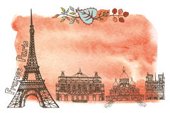 Autumn in Paris.Landmarks,leaves,watercolor splash. Paris Famous landmarks with autumn leaves ,watercolor splash background.Vintage doodle  sketchy.Notre Dame Royalty Free Stock Photography