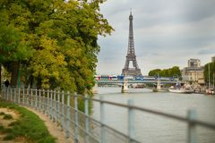 Autumn Parisian cityscape with Eiffel tower Stock Photos