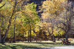 Autumn in the park. With picnic tables Royalty Free Stock Photos