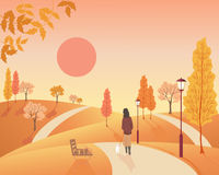 Autumn park. An illustration of a woman walking a small dog in an autumn park with old fashioned lamps and colorful fall trees Royalty Free Stock Images