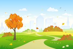 Autumn park alley vector illustration