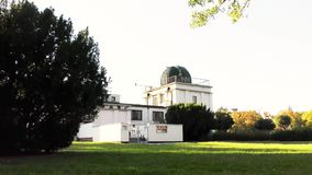 Autumn in the park, astronomical observatory. Astronomical observatory, autumn in the park stock video footage