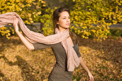 Autumn park and a beautiful brunette. Beautiful young brunette posing in the park at fall Stock Images