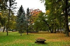 Autumn Park. Beautiful autumn Park Zdrojowy - Duszniki Zdroj -Poland. Colourful leaves give specific autumn atmosphere Royalty Free Stock Photography