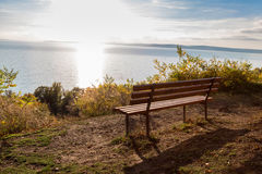 Autumn a park bench in Hungary Royalty Free Stock Photos