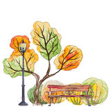 Autumn park with bench and lantern Royalty Free Stock Image