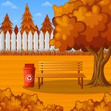 Autumn park bench under the tree with trash bin. Illustration of Autumn park bench under the tree with trash bin Royalty Free Stock Image
