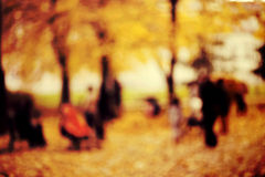 Autumn in park, blurred effect Royalty Free Stock Photo