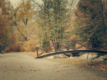 Autumn park with bridge Royalty Free Stock Image