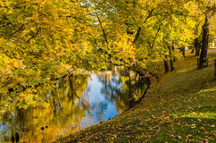 Autumn park at the channel in Riga Stock Images