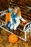 Autumn park children Royalty Free Stock Images