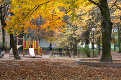 Autumn park and children's playground Royalty Free Stock Photography