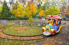 Autumn park. Children's railway Royalty Free Stock Photo