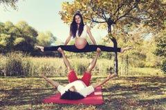 Autumn Park Couple que hace yoga del acro Embarazo foto de archivo
