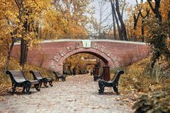Autumn park, decorative pedestrian bridge, empty wooden benches royalty free stock image