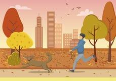 Autumn Park en Guy Running met Hond op Leiband royalty-vrije illustratie