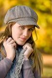 Autumn park - fashion model woman Royalty Free Stock Photos