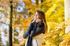 Autumn park - fashion model woman Stock Image
