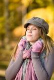 Autumn park - fashion model woman Royalty Free Stock Photography