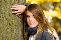 Autumn park - fashion model woman relax Stock Photos