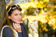 Autumn park - fashion woman with sunglasses Royalty Free Stock Photo