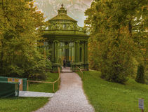 In the Autumn park. Green bower in the park of Linderhof Palace. Bavaria, Germany Royalty Free Stock Photo