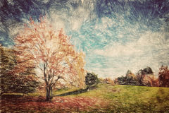 Autumn park. Green hill in red leaves. Vintage art Royalty Free Stock Photography