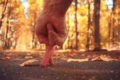 Autumn park. Hand fingers walking in autumn park Stock Images