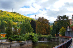 Autumn park in Karlsbad (Karlovy Vary). Czech republic Royalty Free Stock Images
