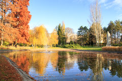 Autumn park lake with reflection Royalty Free Stock Photos