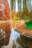 Autumn park lake with reflection Royalty Free Stock Photography