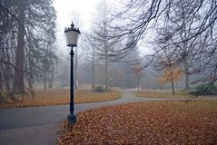 Autumn park with lanterns Stock Image