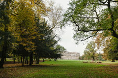 Autumn in the Park of Monza. The historic Villa Reale of Monza, Italy surrounded by magnificent trees during a wonderful fall day royalty free stock photo