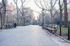 Autumn Park in New York. Empty Bench, No People. Sunrise. Autumn Park in New York. Empty Bench, No People Stock Photos