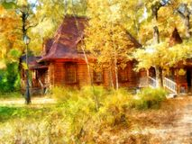 Autumn Park. An old manor strewn with bright leaves, hidden amon Royalty Free Stock Images
