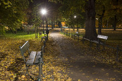 Autumn Park Path by Night Royalty Free Stock Photography