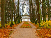 Autumn park with pavilion Royalty Free Stock Photography
