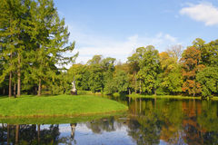 Autumn park with pond Royalty Free Stock Photography