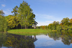 Autumn park with pond Royalty Free Stock Images